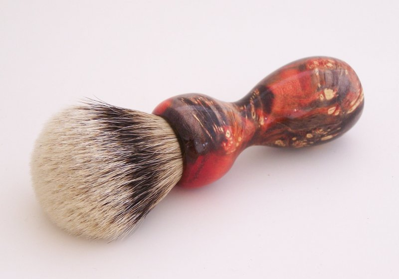 Image 0 of Red/Black Box Elder Burl Wood 22mm Super Silvertip Badger Shaving Brush (BEB2)