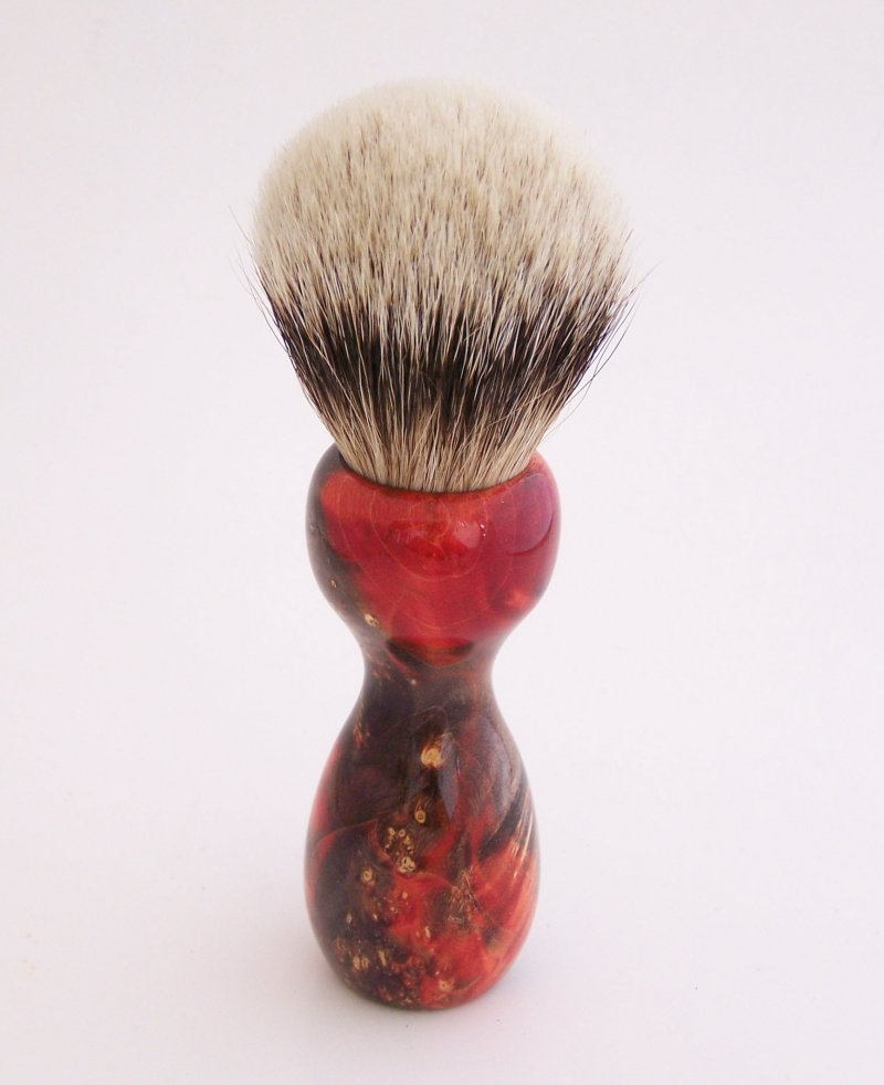 Image 1 of Red/Black Box Elder Burl Wood 22mm Super Silvertip Badger Shaving Brush (BEB2)