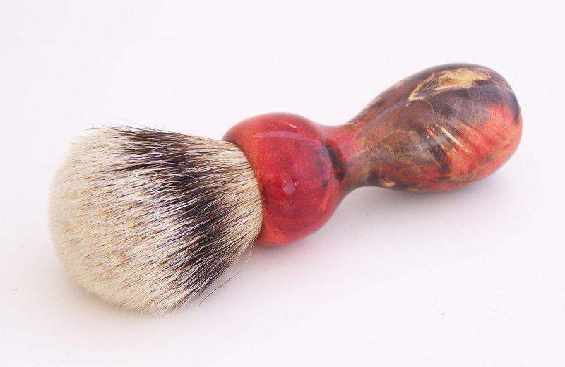 Image 2 of Red/Black Box Elder Burl Wood 22mm Super Silvertip Badger Shaving Brush (BEB2)