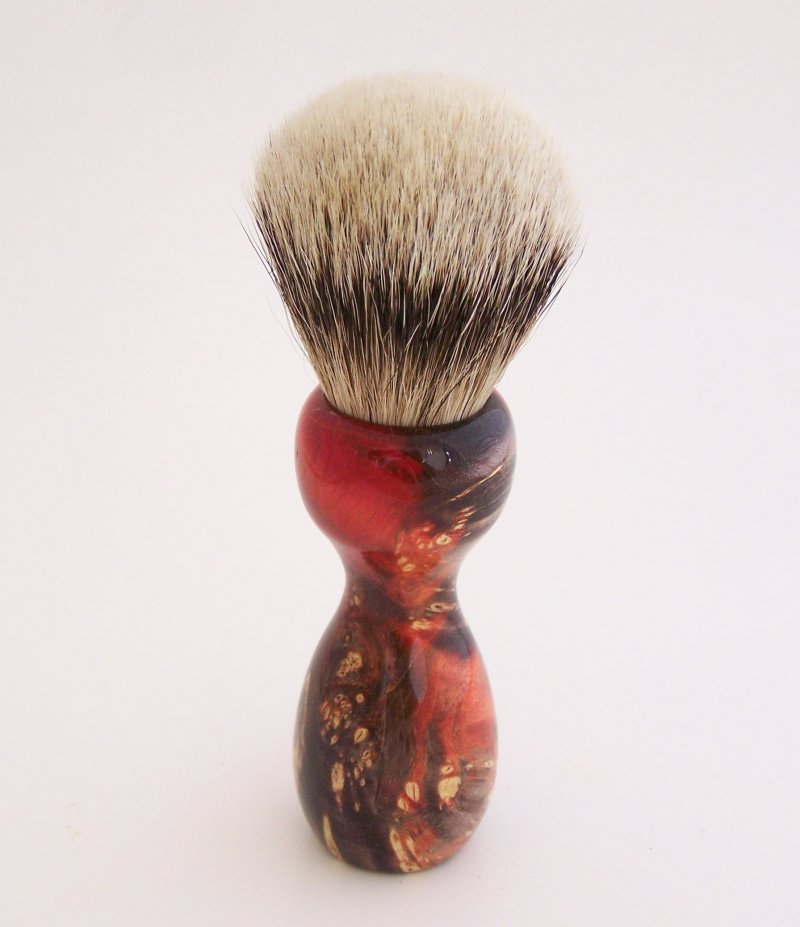 Image 3 of Red/Black Box Elder Burl Wood 22mm Super Silvertip Badger Shaving Brush (BEB2)