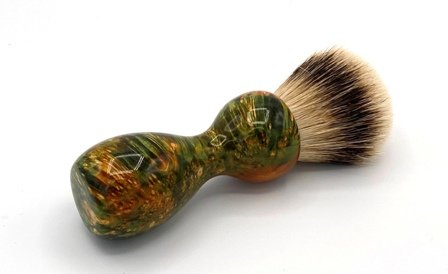 Image 0 of Green/Gold Box Elder Burl Wood 22mm Super Silvertip Badger Shaving Brush (BEB1)
