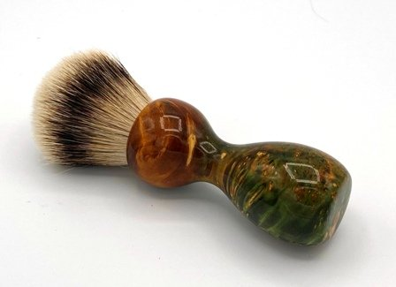 Image 1 of Green/Gold Box Elder Burl Wood 22mm Super Silvertip Badger Shaving Brush (BEB1)