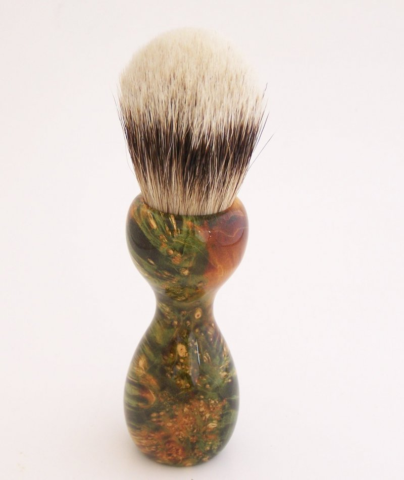Image 2 of Green/Gold Box Elder Burl Wood 22mm Super Silvertip Badger Shaving Brush (BEB1)