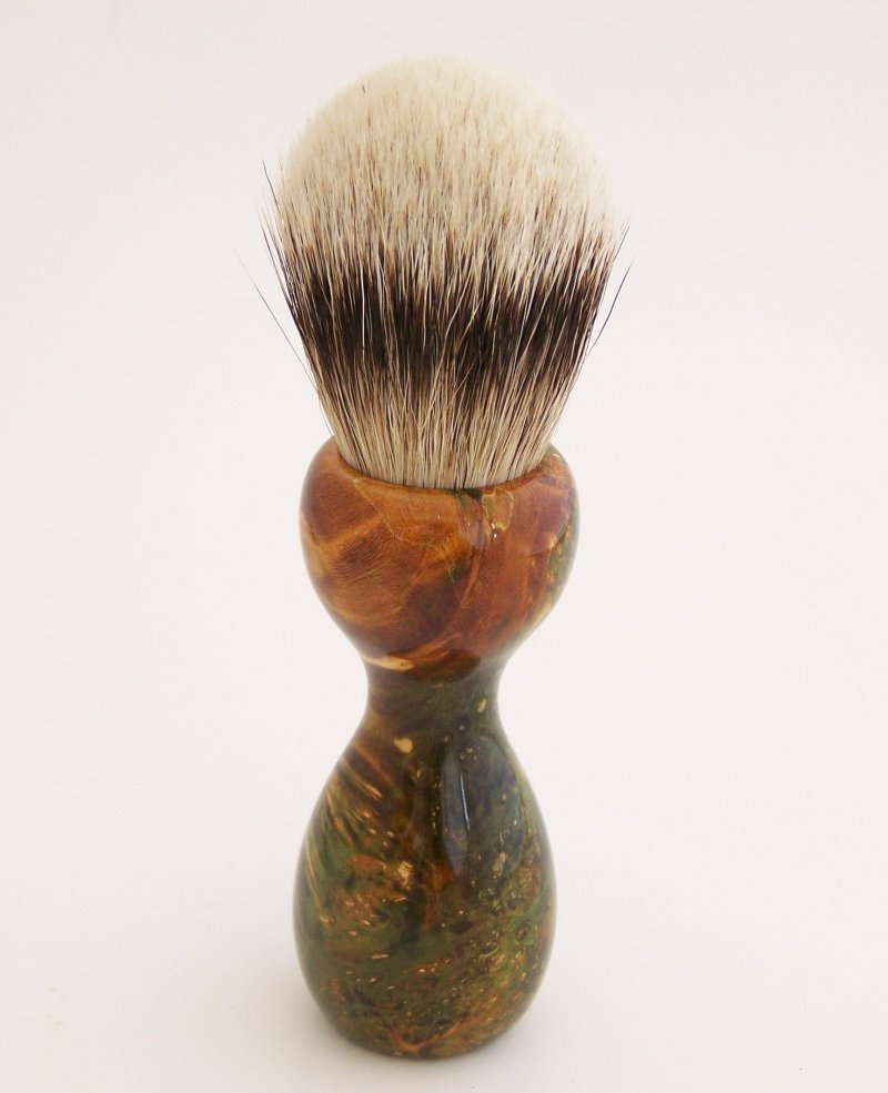 Image 3 of Green/Gold Box Elder Burl Wood 22mm Super Silvertip Badger Shaving Brush (BEB1)