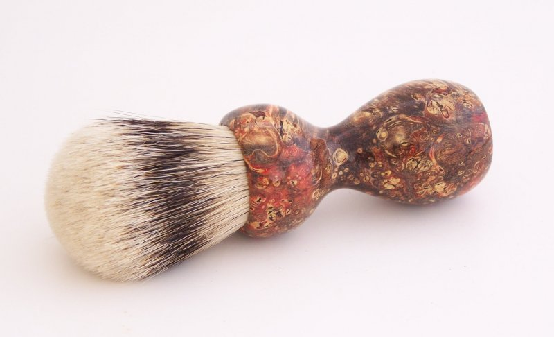 Image 0 of Red & Black Box Elder Burl Wood 24mm Super Silvertip Badger Shaving Brush (R1)