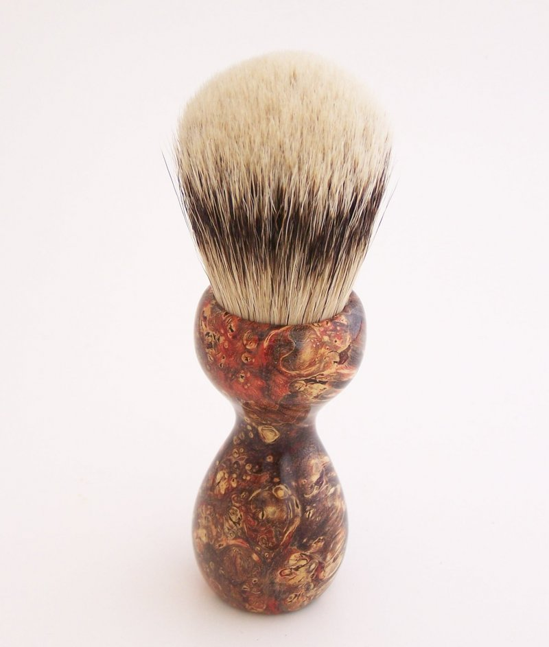 Image 1 of Red & Black Box Elder Burl Wood 24mm Super Silvertip Badger Shaving Brush (R1)
