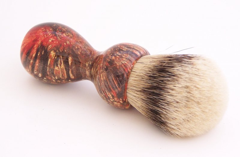 Image 2 of Red & Black Box Elder Burl Wood 24mm Super Silvertip Badger Shaving Brush (R1)