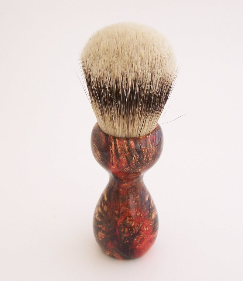 Image 3 of Red & Black Box Elder Burl Wood 24mm Super Silvertip Badger Shaving Brush (R1)