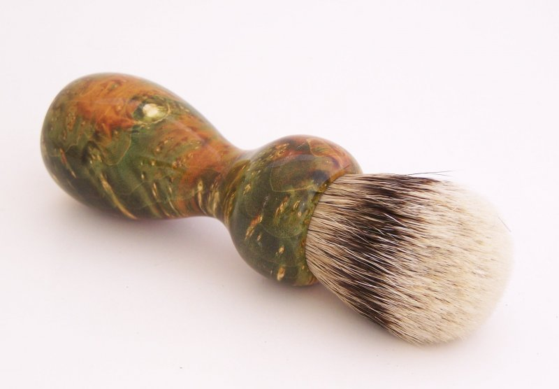 Image 1 of Green/Gold Box Elder Burl Wood 20mm Silvertip Badger Shaving Brush (Handmade) G2