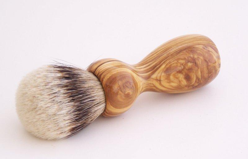 Image 0 of Olivewood 20mm Silvertip Badger Shaving Brush (Handmade in USA) O1