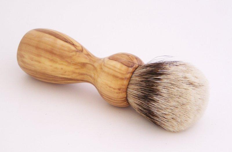 Image 1 of Olivewood 20mm Silvertip Badger Shaving Brush (Handmade in USA) O1