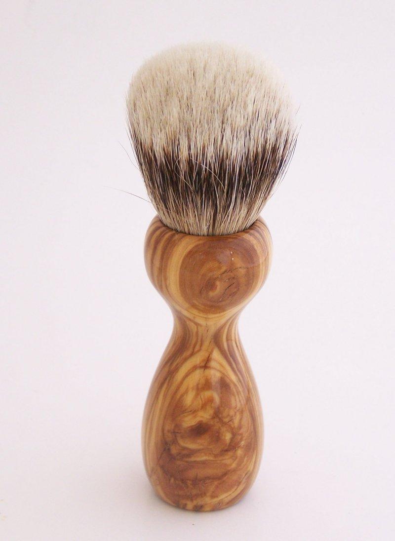 Image 2 of Olivewood 20mm Silvertip Badger Shaving Brush (Handmade in USA) O1