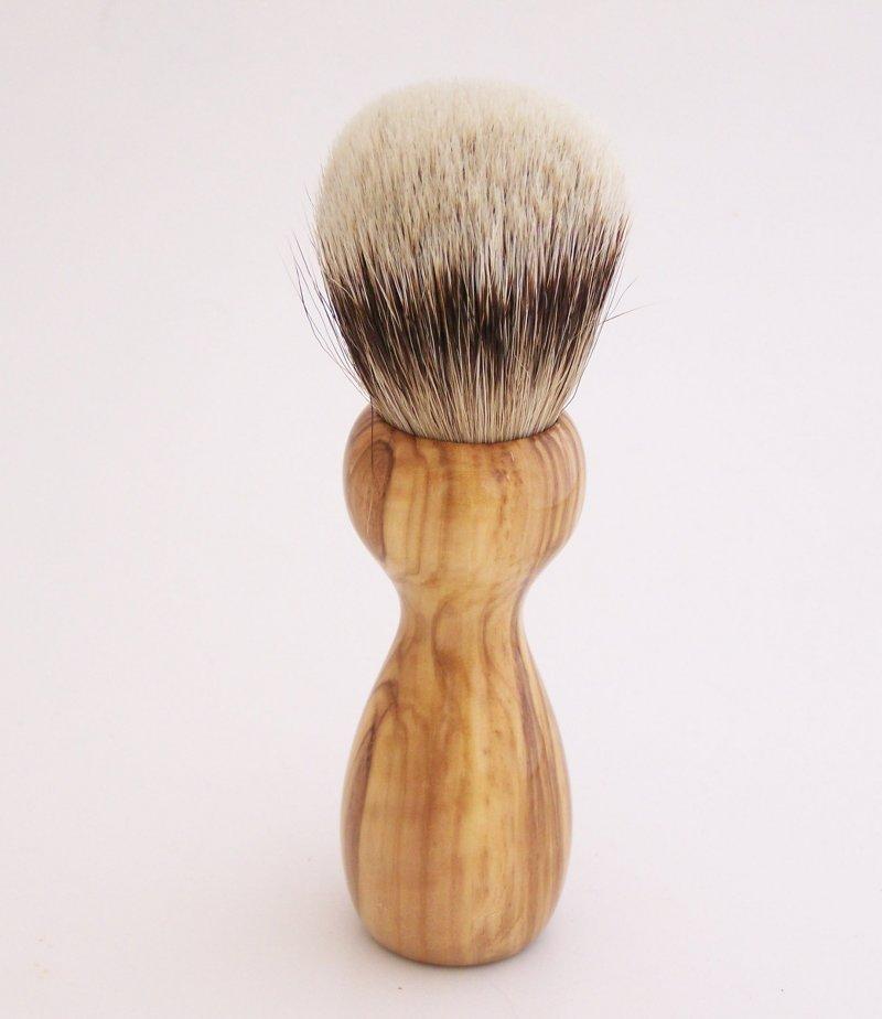 Image 3 of Olivewood 20mm Silvertip Badger Shaving Brush (Handmade in USA) O1