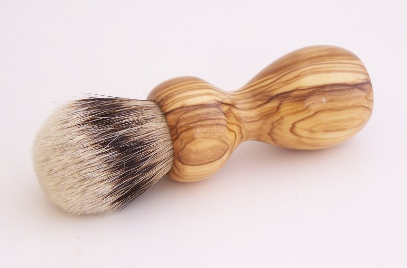 Image 0 of Olivewood 20mm Silvertip Badger Shaving Brush (Handmade in USA) O2