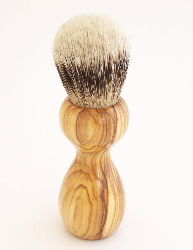 Image 2 of Olivewood 20mm Silvertip Badger Shaving Brush (Handmade in USA) O2