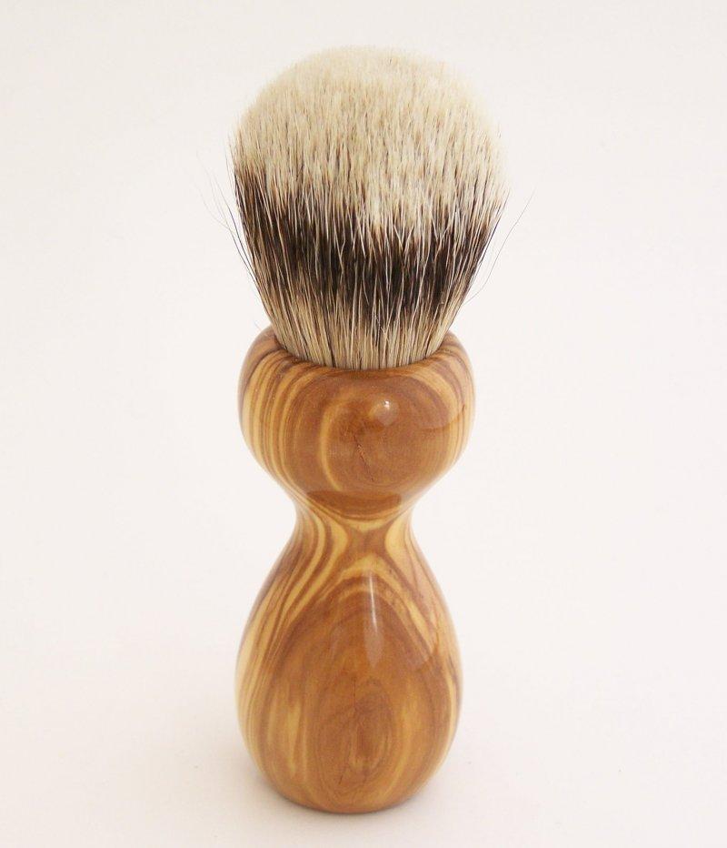 Image 3 of Olivewood 20mm Silvertip Badger Shaving Brush (Handmade in USA) O2