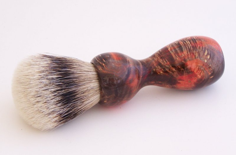 Image 0 of Red/Black Box Elder Burl Wood 22mm Super Silvertip Badger Shaving Brush (R1)
