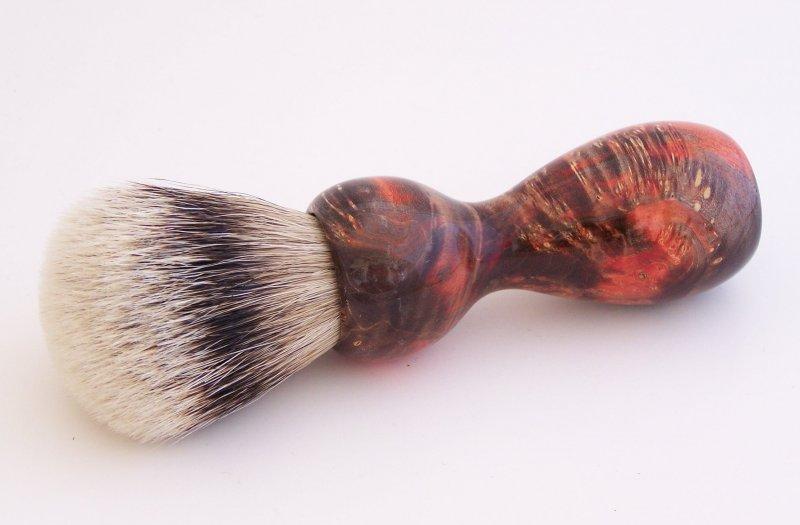 Image 0 of Red/Black Box Elder Burl Wood 22mm Super Silvertip Badger Shaving Brush (R1)