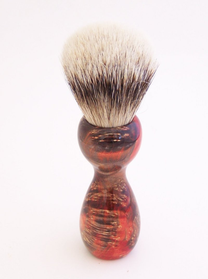Image 2 of Red/Black Box Elder Burl Wood 22mm Super Silvertip Badger Shaving Brush (R1)