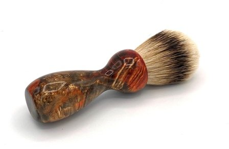 Image 0 of Red/Black Box Elder Burl Wood 22mm Super Silvertip Badger Shaving Brush (R3)