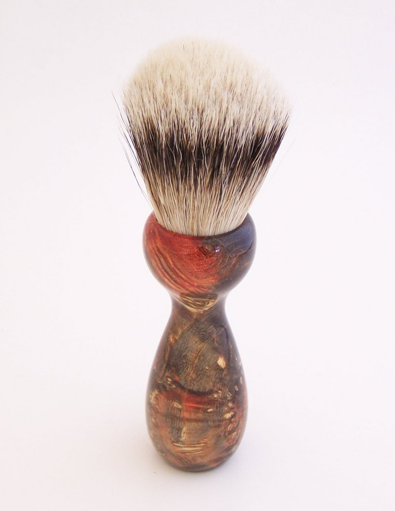 Image 1 of Red/Black Box Elder Burl Wood 22mm Super Silvertip Badger Shaving Brush (R3)