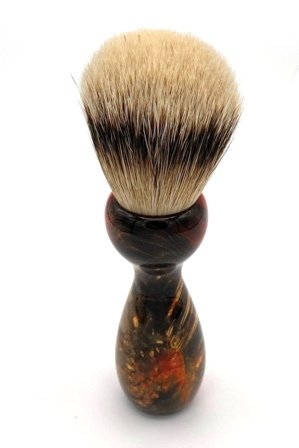 Image 3 of Red/Black Box Elder Burl Wood 22mm Super Silvertip Badger Shaving Brush (R3)