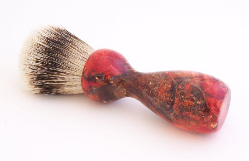 Image 0 of Red/Black Box Elder Burl Wood 22mm Super Silvertip Badger Shaving Brush (R4)