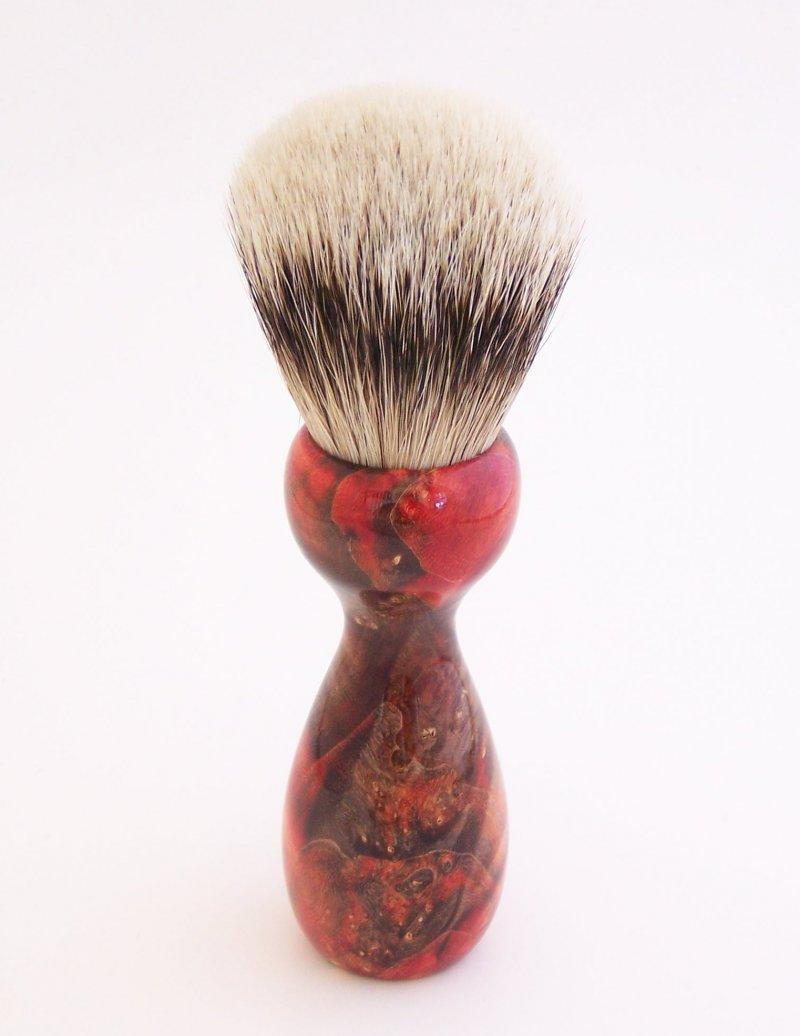 Image 1 of Red/Black Box Elder Burl Wood 22mm Super Silvertip Badger Shaving Brush (R4)