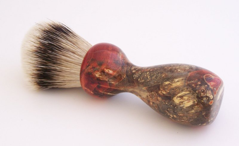 Image 0 of Red/Black Box Elder Burl Wood 22mm Super Silvertip Badger Shaving Brush (R6)
