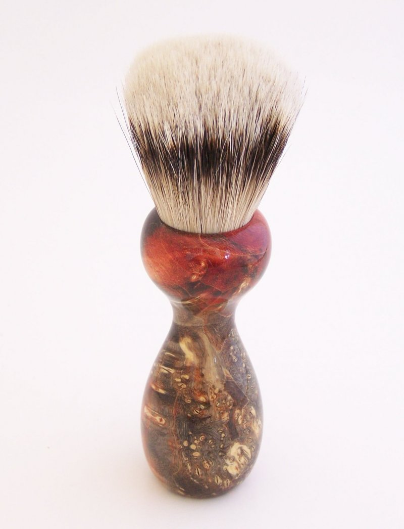 Image 1 of Red/Black Box Elder Burl Wood 22mm Super Silvertip Badger Shaving Brush (R6)