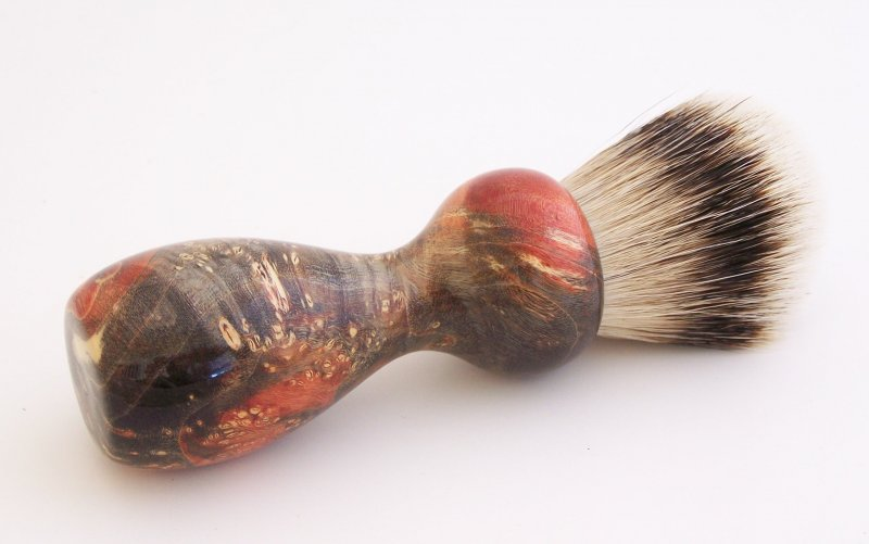 Image 2 of Red/Black Box Elder Burl Wood 22mm Super Silvertip Badger Shaving Brush (R6)