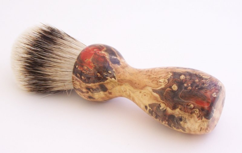 Image 0 of Red/Black Box Elder Burl Wood 22mm Super Silvertip Badger Shaving Brush (R7)