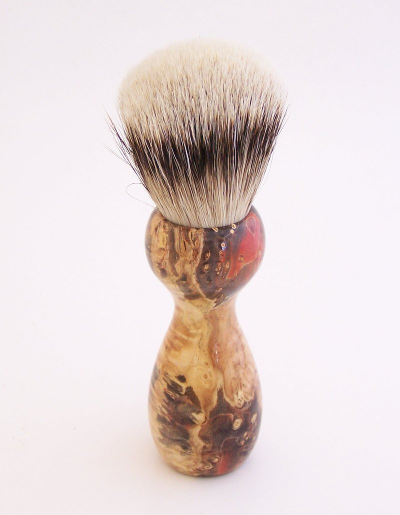 Image 1 of Red/Black Box Elder Burl Wood 22mm Super Silvertip Badger Shaving Brush (R7)
