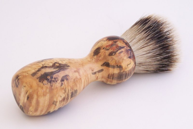 Image 2 of Red/Black Box Elder Burl Wood 22mm Super Silvertip Badger Shaving Brush (R7)