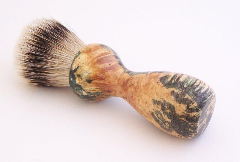 Image 2 of Gold/Black Box Elder Burl Wood 22mm Super Silvertip Badger Shaving Brush (G1)