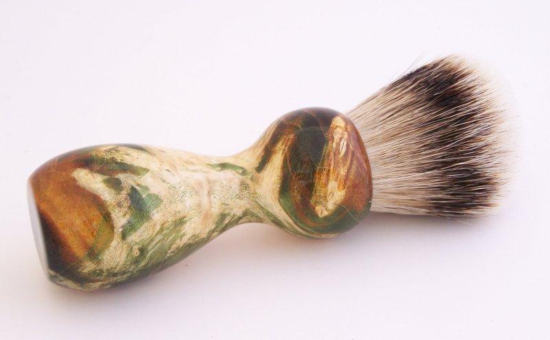 Image 0 of Gold/Black Box Elder Burl Wood 22mm Super Silvertip Badger Shaving Brush (G2)