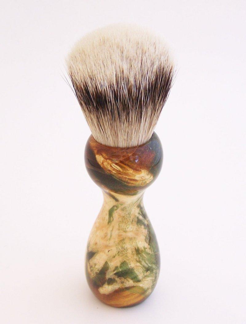 Image 1 of Gold/Black Box Elder Burl Wood 22mm Super Silvertip Badger Shaving Brush (G2)