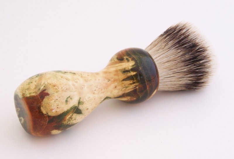 Image 2 of Gold/Black Box Elder Burl Wood 22mm Super Silvertip Badger Shaving Brush (G2)