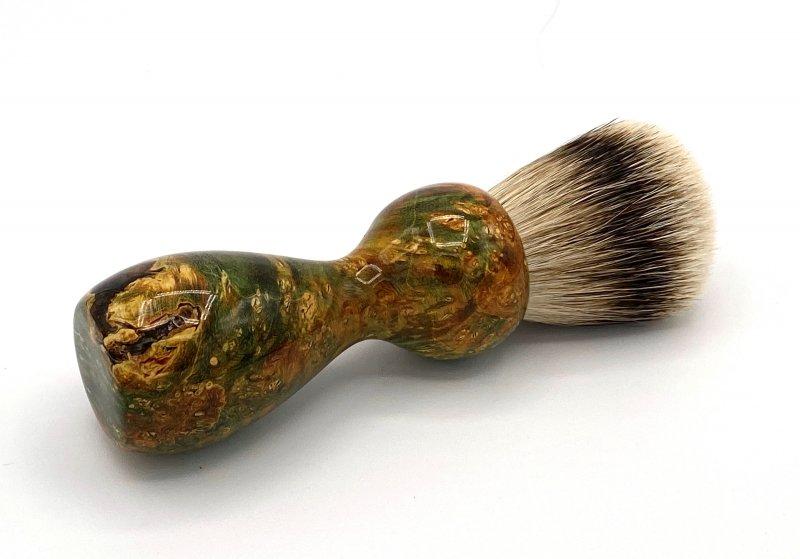 Image 0 of Gold/Black Box Elder Burl Wood 22mm Super Silvertip Badger Shaving Brush (G3)