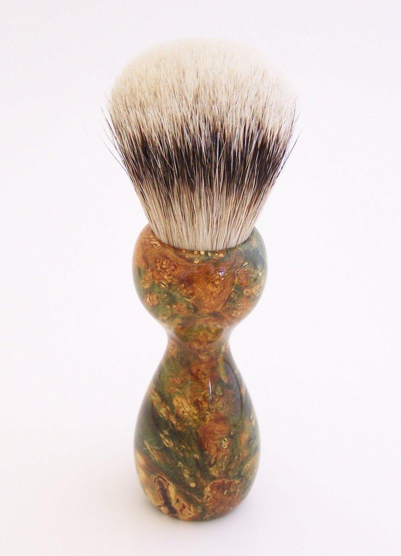 Image 1 of Gold/Black Box Elder Burl Wood 22mm Super Silvertip Badger Shaving Brush (G3)
