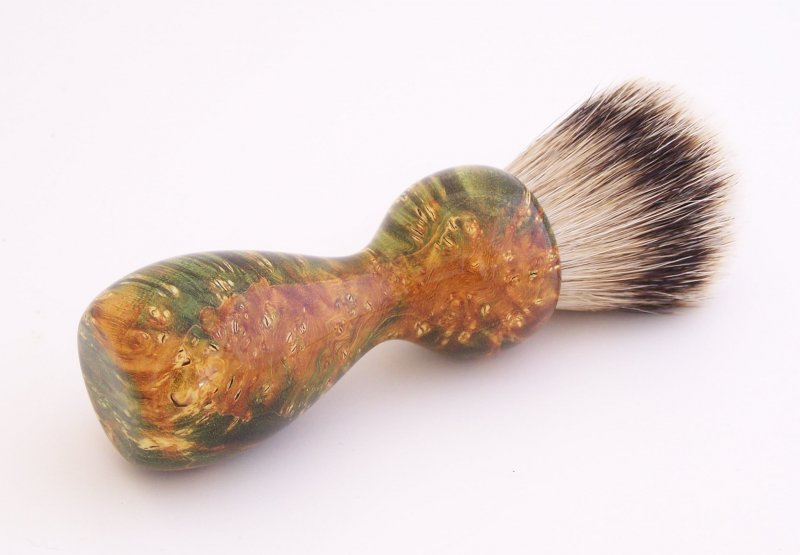 Image 2 of Gold/Black Box Elder Burl Wood 22mm Super Silvertip Badger Shaving Brush (G3)