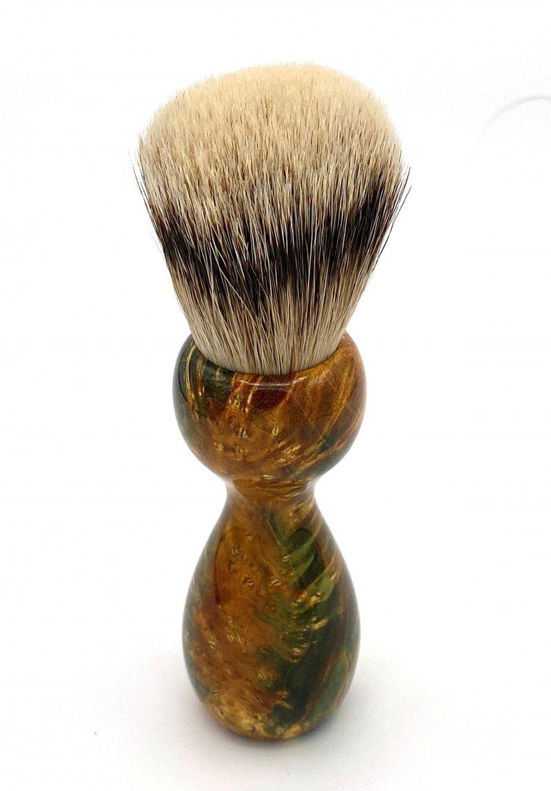 Image 3 of Gold/Black Box Elder Burl Wood 22mm Super Silvertip Badger Shaving Brush (G3)