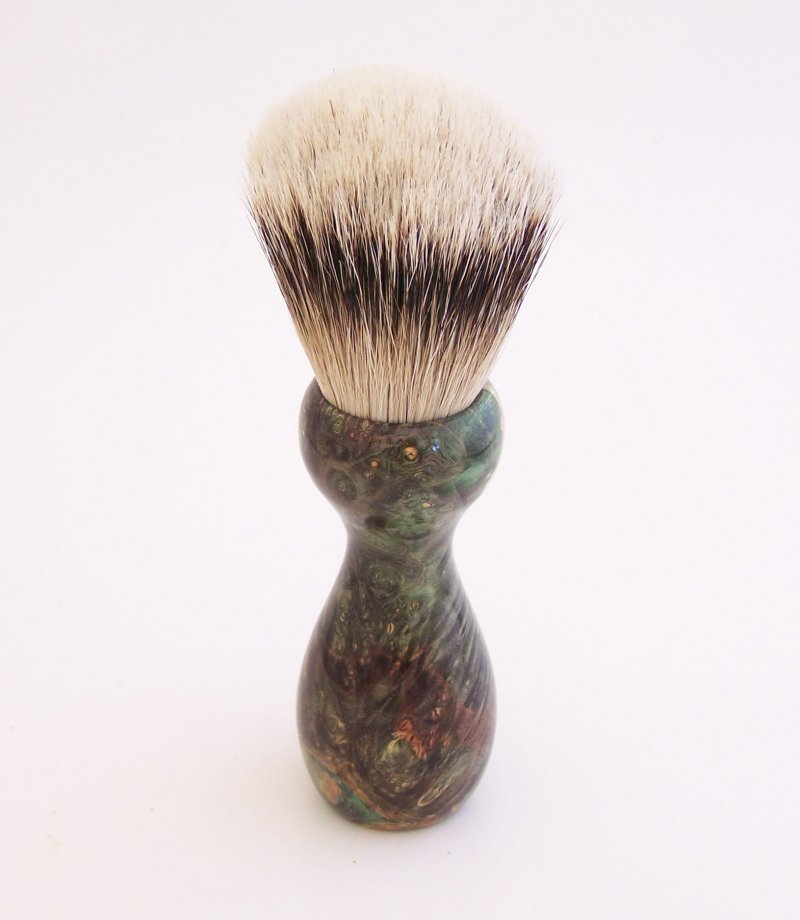 Image 1 of Gold/Black Box Elder Burl Wood 22mm Super Silvertip Badger Shaving Brush (G4)