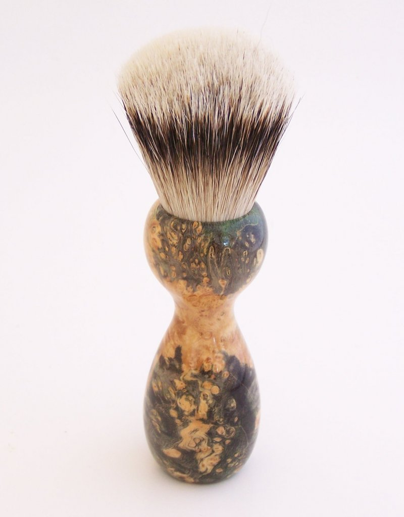 Image 1 of Gold/Black Box Elder Burl Wood 22mm Super Silvertip Badger Shaving Brush (G5)