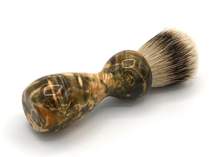 Image 0 of Green/Gold Box Elder Burl Wood 22mm Super Silvertip Badger Shaving Brush (G1)