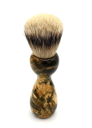 Image 2 of Green/Gold Box Elder Burl Wood 22mm Super Silvertip Badger Shaving Brush (G1)