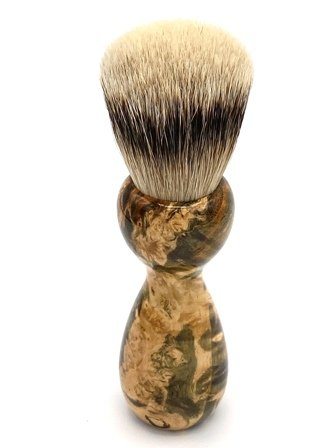 Image 3 of Green/Gold Box Elder Burl Wood 22mm Super Silvertip Badger Shaving Brush (G1)