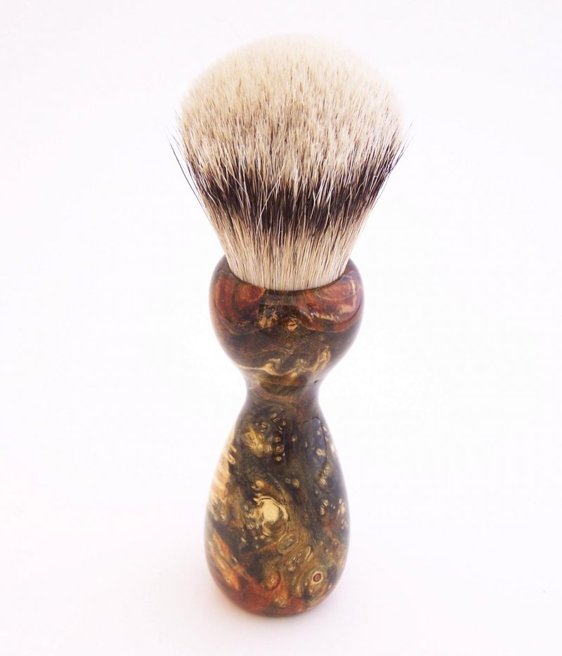 Image 2 of Green/Gold Box Elder Burl Wood 22mm Super Silvertip Badger Shaving Brush (G6)