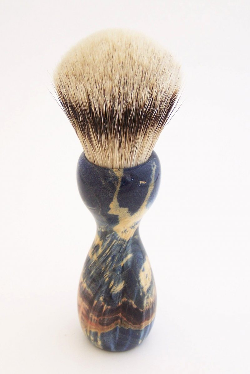 Image 2 of Blue Box Elder Burl Wood 22mm Super Silvertip Badger Shaving Brush (B1)