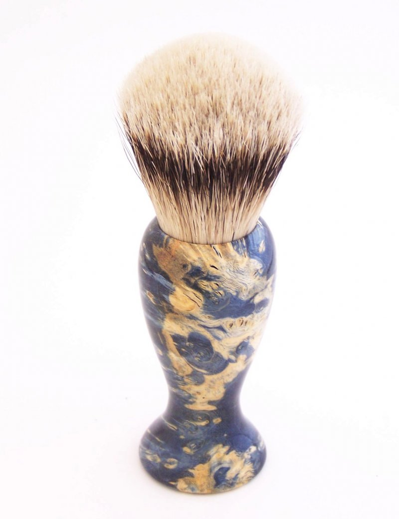 Image 0 of Blue Box Elder Burl Wood 22mm Super Silvertip Badger Shaving Brush (B4)